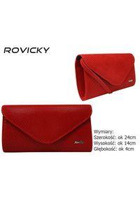 ROVICKY - Kopertówka czerwona brokatowa Rovicky W35. Kolor: czerwony. Materiał: skórzane