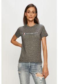 Szara bluzka Champion z okrągłym kołnierzem, z aplikacjami, na co dzień, casualowa