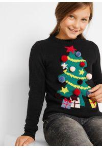 Sweter dziewczęcy z bożonarodzeniowym motywem bonprix Sweter dziew bożon czar. Kolor: czarny. Materiał: materiał, akryl. Wzór: aplikacja #2