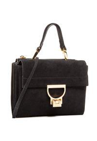Czarna torebka klasyczna Coccinelle zamszowa, casualowa