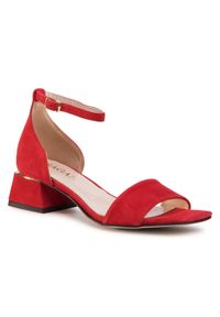 Czerwone sandały sagan casualowe, na co dzień