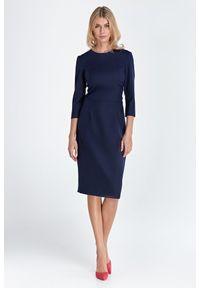 Nife - Prosta Sukienka z Rękawem 3/4 - Granatowa. Kolor: niebieski. Materiał: wiskoza, poliester. Typ sukienki: proste