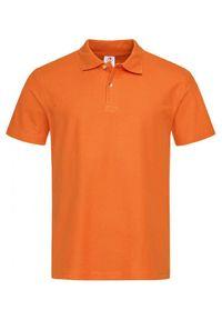 Pomarańczowy t-shirt Stedman casualowy, polo
