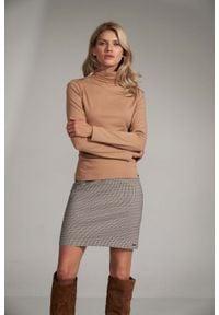 Figl - Trapezowa Mini Spódnica- w kratkę. Materiał: nylon, poliester. Wzór: kratka