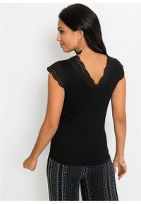 Shirt LENZING™ ECOVERO™ bonprix czarny. Kolor: czarny. Materiał: koronka. Wzór: koronka