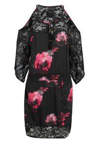 Sukienka plażowa bonprix szaro-różowy w kwiaty. Okazja: na plażę. Kolor: szary. Materiał: koronka. Wzór: kwiaty