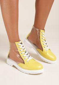 Renee - Żółte Botki Diania. Kolor: żółty. Materiał: materiał