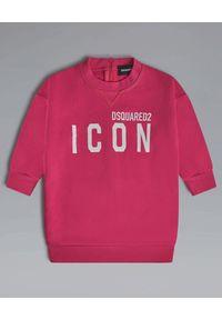 DSQUARED2 KIDS - Różowa bluza Icon 0-3 lata. Kolor: różowy, fioletowy, wielokolorowy. Materiał: bawełna. Długość rękawa: długi rękaw. Długość: długie. Wzór: nadruk. Sezon: lato