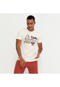 House - Koszulka z nadrukiem Cuba Libre - Kremowy. Kolor: kremowy. Wzór: nadruk