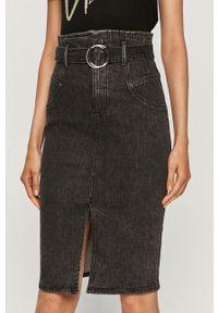 Czarna spódnica Guess Jeans na co dzień, z podwyższonym stanem
