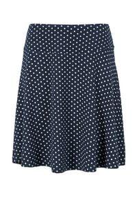 Cellbes Dżersejowa spódnica w kropki granatowy w kropki female niebieski/ze wzorem 62/64. Kolor: niebieski. Materiał: jersey. Wzór: kropki