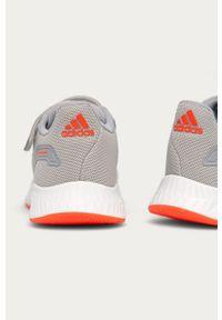 Szare buty sportowe Adidas z cholewką, z okrągłym noskiem, na sznurówki