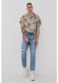 PRODUKT by Jack & Jones - Produkt by Jack & Jones - Koszula. Typ kołnierza: kołnierzyk klasyczny. Kolor: beżowy. Materiał: tkanina. Długość rękawa: krótki rękaw. Długość: krótkie. Styl: klasyczny