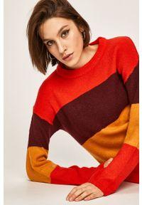 Czerwony sweter ANSWEAR casualowy, na co dzień, z okrągłym kołnierzem