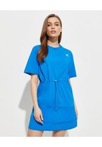 Kenzo - KENZO - Niebieska sukienka Sport. Kolor: niebieski. Materiał: bawełna. Wzór: aplikacja. Typ sukienki: sportowe. Styl: sportowy. Długość: mini