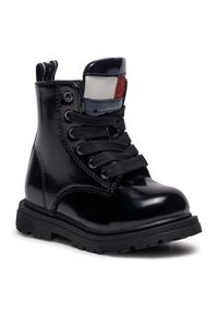Czarne buty zimowe TOMMY HILFIGER z cholewką