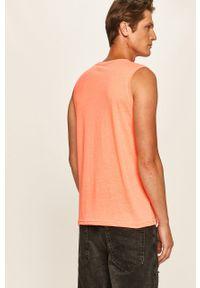 Pomarańczowy t-shirt Tom Tailor Denim bez rękawów, z nadrukiem, na co dzień, z okrągłym kołnierzem