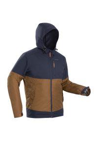 quechua - Kurtka turystyczna zimowa męska Quechua SH100 X-WARM WTP -10°C. Kolor: pomarańczowy, beżowy, wielokolorowy, szary. Materiał: polar, materiał. Sezon: zima