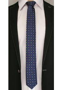 Ciemny Granatowy Elegancki Krawat -Angelo di Monti- 6 cm, Męski, w Pomarańczowo- Żółte Kwadraty. Kolor: niebieski, złoty, żółty, wielokolorowy. Wzór: geometria. Styl: elegancki