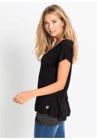Czarna bluzka bonprix z krótkim rękawem, długa