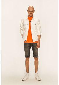 Pomarańczowy t-shirt Guess Jeans z okrągłym kołnierzem, z nadrukiem