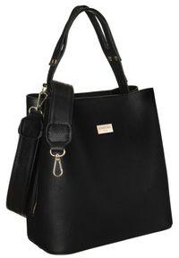 Torebka damska czarna Badura BA/008 AS BLACK. Kolor: czarny. Wzór: gładki. Materiał: skórzane. Rodzaj torebki: na ramię