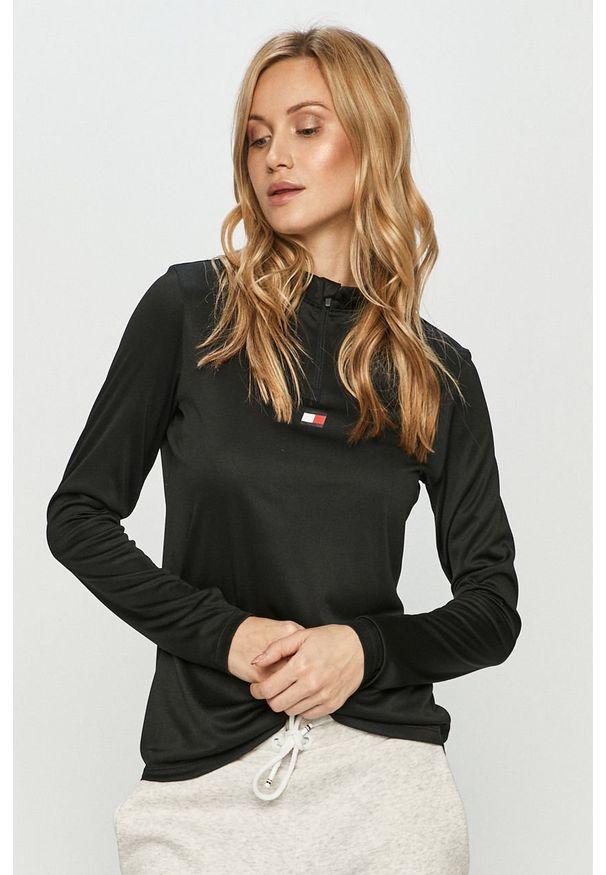 Czarna bluzka z długim rękawem Tommy Sport na co dzień, sportowa
