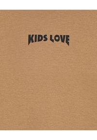 KIDS LOVE - Bawełniana bluza z kapturem Menfi. Okazja: na co dzień. Typ kołnierza: kaptur. Kolor: brązowy. Materiał: bawełna. Styl: casual