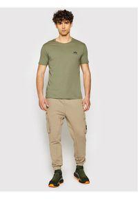 Alpha Industries T-Shirt Basic Logo 188505 Zielony Regular Fit. Kolor: zielony
