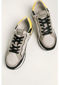 Szare sneakersy Guess Jeans z cholewką, na sznurówki, z okrągłym noskiem