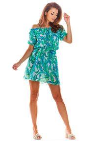 e-margeritka - Sukienka hiszpanka mini we wzory - l/xl. Typ kołnierza: dekolt hiszpanka. Materiał: tkanina, szyfon, materiał, poliester. Sezon: lato. Styl: wakacyjny. Długość: mini