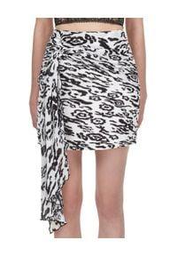 SELF PORTRAIT - Wzorzysta spódnica mini. Stan: podwyższony. Kolor: czarny. Materiał: materiał. Wzór: nadruk, aplikacja, motyw zwierzęcy. Styl: klasyczny