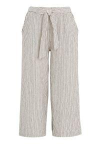 Freequent Spodnie do kostki z mieszanki lnu Lavara złamana biel Czarny female biały/czarny XS (36). Kolor: biały, czarny, wielokolorowy. Materiał: len. Wzór: prążki