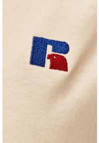 Russell Athletic - Russel Athletic - Sukienka. Okazja: na co dzień. Kolor: beżowy. Materiał: dzianina. Wzór: aplikacja. Typ sukienki: proste. Styl: casual