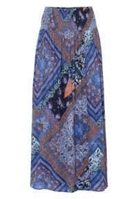 Spódnica kopertowa bonprix niebiesko-brązowy wzorzysty. Kolor: niebieski. Długość: długie #1