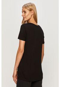 Czarna bluzka Trussardi Jeans z aplikacjami, na co dzień, casualowa