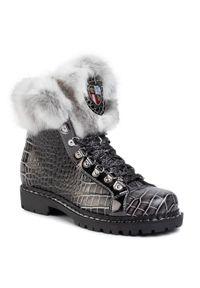 Czarne buty trekkingowe New Italia Shoes