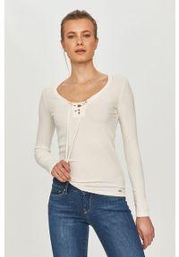 Biała bluzka z długim rękawem Pepe Jeans na co dzień, gładkie, casualowa