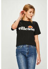 Czarna bluzka Ellesse casualowa, z okrągłym kołnierzem
