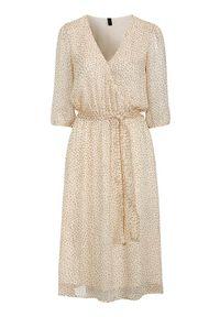 Biała sukienka Soyaconcept elegancka, kopertowa, maxi