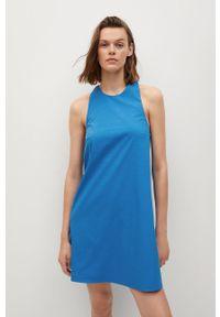 mango - Mango - Sukienka VITA. Kolor: niebieski. Materiał: tkanina, materiał, bawełna. Długość rękawa: na ramiączkach. Typ sukienki: rozkloszowane
