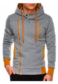 Ombre Clothing - Bluza męska rozpinana z kapturem B297 - szara/ruda - XXL. Typ kołnierza: kaptur. Kolor: brązowy. Materiał: dzianina, bawełna, poliester