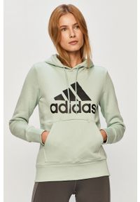 Turkusowa bluza adidas Performance na co dzień, z kapturem