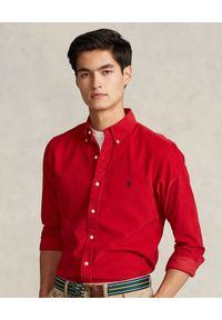 Ralph Lauren - RALPH LAUREN - Czerwona sztruksowa koszula. Okazja: na co dzień. Typ kołnierza: polo, kołnierzyk klasyczny. Kolor: czerwony. Materiał: sztruks. Długość rękawa: długi rękaw. Długość: długie. Wzór: haft. Styl: klasyczny, casual