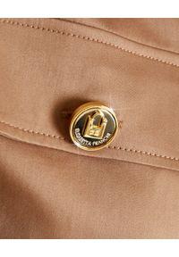 Elisabetta Franchi - ELISABETTA FRANCHI - Beżowa koszula z wiązaniem. Kolor: beżowy. Wzór: aplikacja