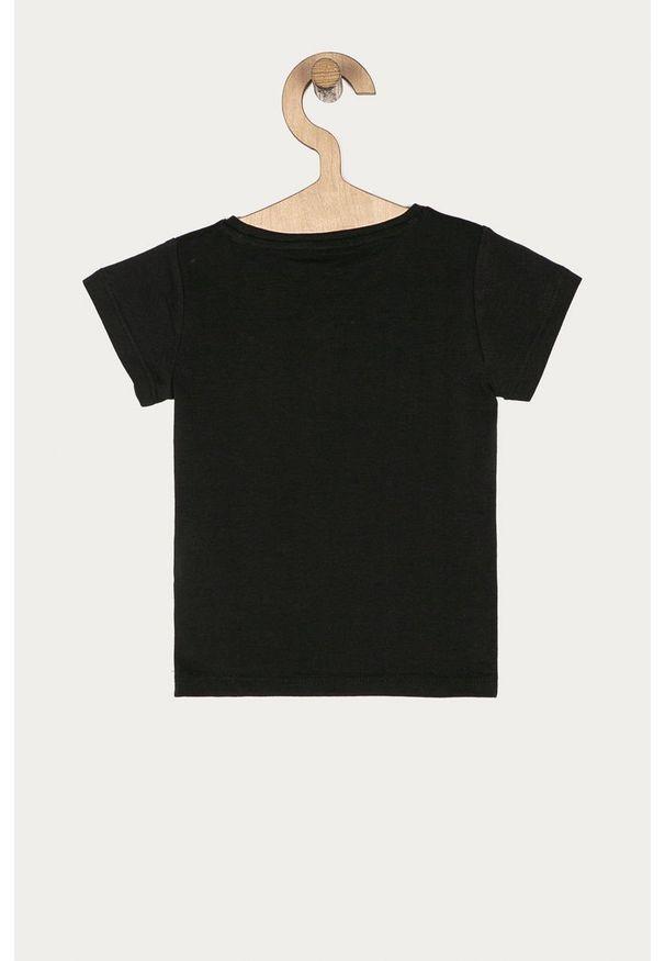 Czarna bluzka z krótkim rękawem Guess Jeans na co dzień, z nadrukiem, z okrągłym kołnierzem