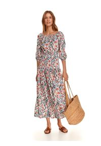 TOP SECRET - Wiskozowa sukienka z gumką w pasie. Kolor: biały. Materiał: wiskoza. Wzór: nadruk. Sezon: jesień. Długość: maxi