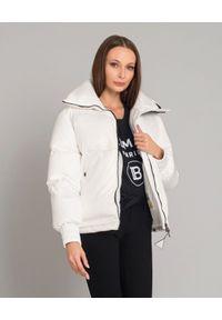 Biała kurtka długa, na zimę, z długim rękawem