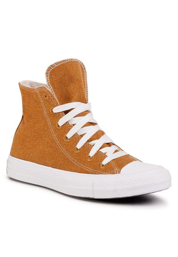 Brązowe buty sportowe Converse z cholewką