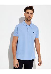 Ralph Lauren - RALPH LAUREN - Niebieska koszulka polo Mesh Slim Fit Stretch. Typ kołnierza: polo. Kolor: niebieski. Materiał: mesh. Wzór: haft, ze splotem